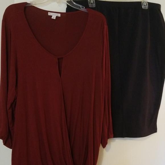 Dress Barn Dresses & Skirts - ❤2X (20) burgundy DB Blouse & Navy Blue Skirt